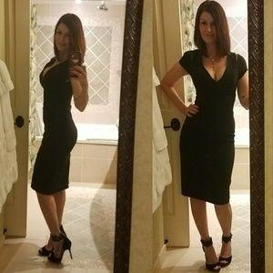 Bebe cold shoulder little black dress size 2